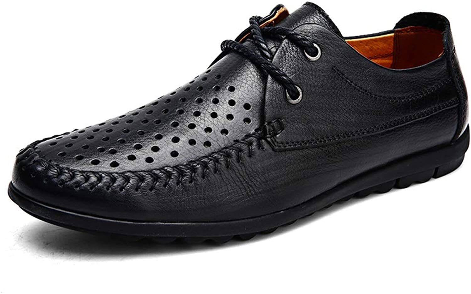 Oxford shoes for Men Formal shoes Lace Up Style OX Leather Simple Pure color (Hollow Optional) (color   Hollow Black, Size   9.5 D(M) US)