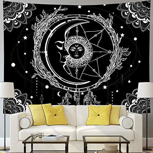 Dremisland Mond und Sonne Wandteppich Psychedelic Mandala Tuch Wandtuch Wandteppich Schwarz und Weiß Traumfänger Tapisserie Wandbehang für Schlafzimmer Wohnzimmer(Mond und Sonne, L / 148x200cm)