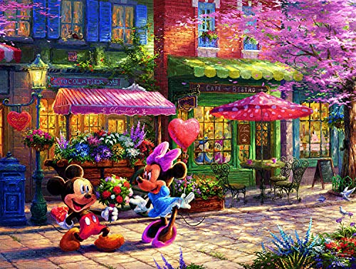 "Ceaco 750 Piece Thomas Kinkade - Disney Dreams, Mickey & Minnie Sweetheart Café Jigsaw Puzzle, Kids and Adults, 5"""