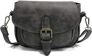 Women Small Vintage Satchel Crossbody Bag PU Leather Saddle Shoulder Purse Handbag