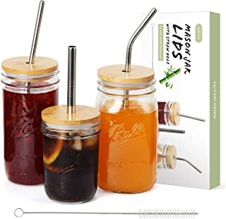 AIEVE Mason Jar Lids, 3 Pack Wide Mouth Mason Jar Lids Bamboo Mason Jar Lids with Straw Hole Stainless Steel Straws and Cleaning Brush for Wide Mouth Mason Jars Canning Jars Drinking Smoothies