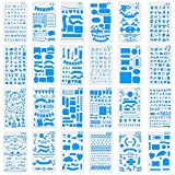 Ccmart 24 Journal Diary Plastic Letter Stencils – Templates For Journaling, Notebook, Diary, Card & Craft DIY Projects Drawing Painting Template Stencil Set with Storage Bag