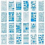 Ccmart 24PCS Gazzetta stencil stencil in plastica planner lettera stencil per diario, notebook, diario, carta e arte progetti fai-da-te disegno pittura modello stencil set 10,2x 17,8cm con