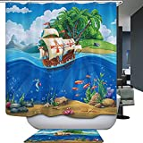 HarsonundJane Cartoon Blaues Meer Duschvorhang Wasserdichten Mehltau Beweis Frischen Bad Vorhang mit Haken 71x71 Inch