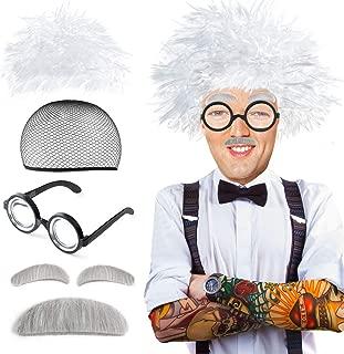 Old Man Santa Clause Mad Scientist Wig Set Albert Einstien Ben Benjamin Franklin Grandpa Costume