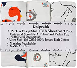 Pack n Play Playard Sheet Set 3 Pack 100% Jersey Knit Cotton 190GSM Fitted Portable Mini Crib Mattress Sheets for Baby Boy...