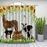 Bauernhoftier-Duschvorhänge Bauernhaus Geflügel Kuh & Pferd Tiere Sonnenblume Blumen Blatt Schmetterling Grün Gras Holzbrett Retro Badezimmer Set Stoff Vorhang 177 x 178 cm mit Haken