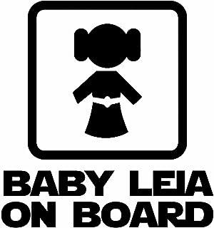 myrockshirt® Aufkleber Baby Leia on Board 17 cm Autoaufkleber Auto Sticker Lack Heckscheibe Baby Bord aus Hochleistungsfolie ohne Hintergrund Profi Qualität viele Farben zur Auswahl MADE IN GERMANY