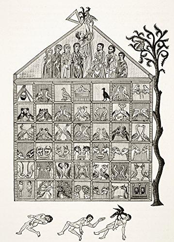 Pôster de seção cruzada da Arca de Noé de um manuscrito do século 12 comentando sobre o apocalipse da ciência e da literatura 44; 30 x 43 cm
