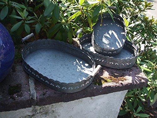 Dekoratives Tablett-Set, 3 Stück, Zink, Holzgriffe, verziert, Landhaus
