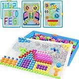 Puzzle mosaïque créative 296pcs Bloc de Construction Magnietique Jeu de Construction Colorée Jouet Educatif DIY Assortiment de Couleur Cadeau de Noël Anniversaire pour Enfant Garçon Fille Age 3-8 Ans