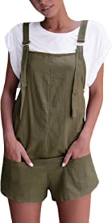 Women's Overalls Shorts Sleeveless Casual Jumpsuit Rompers with Pockets