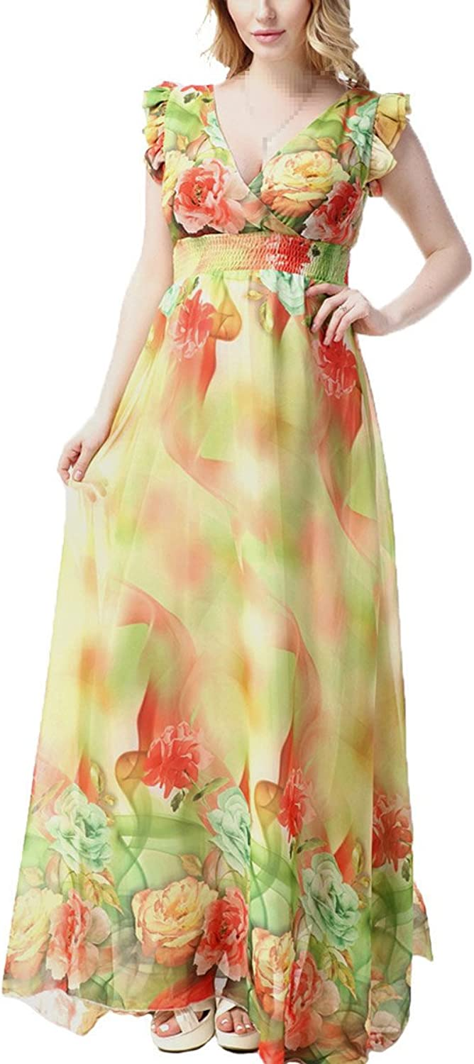 LUCYYA Women's Plus Size Sleeveless VNeck Floral Printed Beach Long Swing Sundress