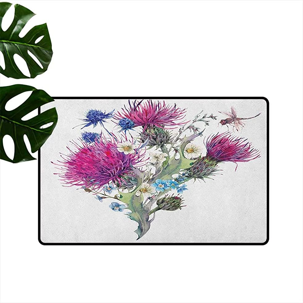 LilyDecorH Dragonfly,Kids Floor mats Summer Natural Meadow Herbs Bouquet Wild Thistles Chamomiles Watercolor Boho Art 36