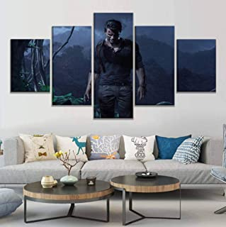 sasdasld Prints Painting Pictures Modern Wall Art 5 Panel Uncharted Game Nathan Drake Home Decor Modular Canvas Poster for Living Room-40CMx60/80/100CM