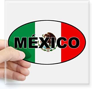 CafePress Mexico Flag Oval Sticker Square Bumper Sticker Car Decal, 3