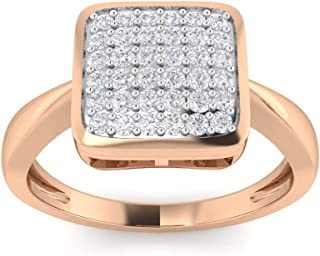 Perrian 18K White Gold 0.23 Carat (SI2 Clarity, GH Color) Round Diamond Ring for Women