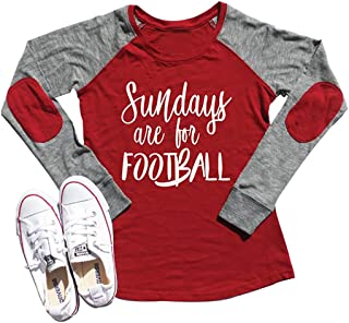 Sundays are for Football Super Bowl 2019 T Shirt Women Elbow Patch Raglan Long Sleeve Baseball Tee Casual Tops …
