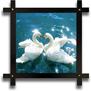 Poster N Frames Cross Wooden Frame Hand-Crafted with Photo of Swan Size (16.5x16.5inch,wood,multicolour)