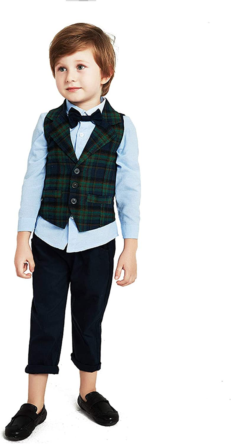 Kimocat Baby Boys Gentleman Bowtie Blue Long Set Super special price +V outlet Sleeve Suits