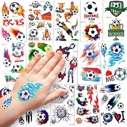 Sinwind Tattoo Kinder, 15 Blätter wasserdichte Kinder Tattoo Set, Temporäre Tattoos Aufkleber für Junge Mädchen Kinder Spielen Mitgebsel Kindergeburtstag Party (Fußball)