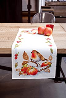 Vervaco Tischläufer Rotkehlchen mit Äpfeln AIDA LÄUFER MIT ZÄHLMUSTER, Baumwolle, Mehrfarbig, 32 x 84 x 0.3 cm