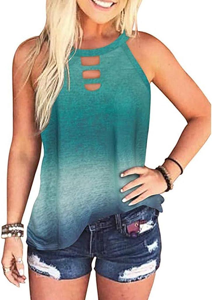 AODONG Women Tank Tops,Womens Summer Tie Dye Summer Sleeveless Casual Loose Top T-Shirt Vest