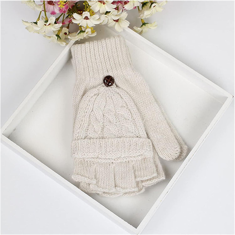 YSJJSQZ Winter Gloves Women Winter Soft Fingerless Gloves Mittens Knitted Glove Winter Keep Warm Sweet Knitted Flip Top Fingerless Mittens Gloves (Color : Beige)
