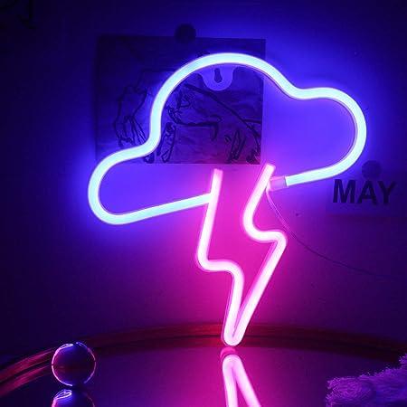 Blitzwolke Leuchtreklame Led Wand Neonlicht USB/Batterie Schild Hängende weiche Nachtlichter für Kinderzimmer Schlafzimmer Apartment Bar Hochzeit Weihnachten Geburtstag Dekor(Blau Rosa)