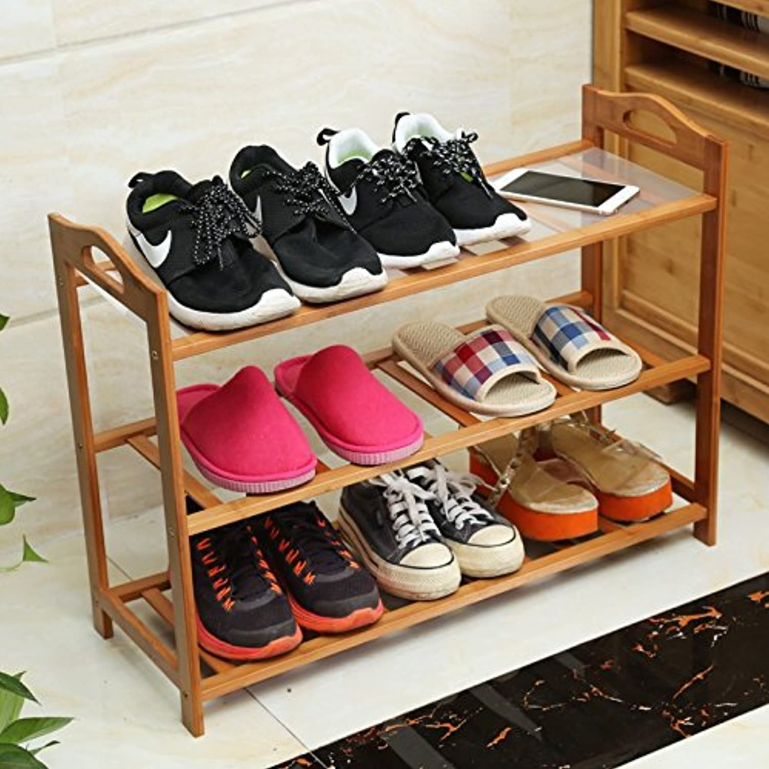 shoes Bench Organizing Rack Nanzhu shoes Rack Simple Multi - Storey Shelves dustproof Household Shelves Simple Modern Assembly shoes Cabinet (color   A, Size   68cm)