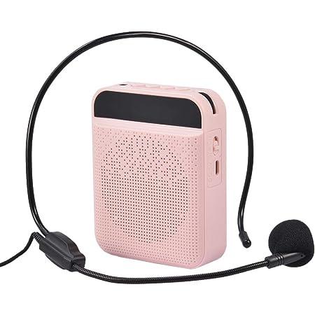 tairong Amplificador de Voz portátil, Amplificador de Voz con batería de Iones de Litio Recargable de 1800 mAh, Soporte de micrófono con Cable portátil, Tarjeta TF para Profesores, coacher