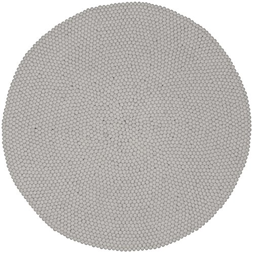 myfelt Fieltro Bola Alfombra Linéa, Fieltro, weiß, 120 x 120 x 2 cm