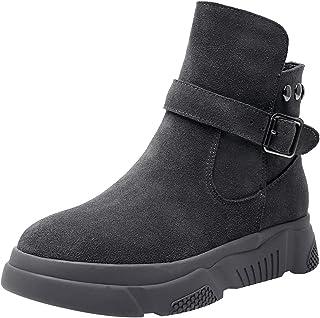 rismart Donna Piattaforma Scamosciato Caviglia Stivali Confortevole Casuale Sneaker