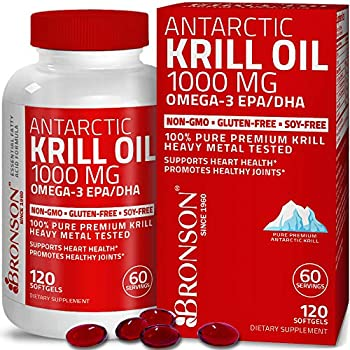 Bronson Antarctic Krill Oil 1000 mg with Omega-3s EPA DHA Astaxanthin and Phospholipids 120 Softgels  60 Servings