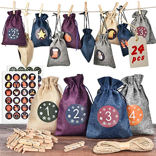 MS.DEAR Christmas Advent Calendar 2020, 24 Days Xmas Countdown Calendar Burlap Gift Bags with 24 Number Stickers, Hanging Fillable DIY Advent Calendar Set, Hemp Rope, Xmas Decoration Supplies