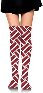 ラトビアの旗 オーバーニー ソックス レディース ニーソックス ハイソックス 美脚 着圧 保温 防寒 かわいい 通学 通勤