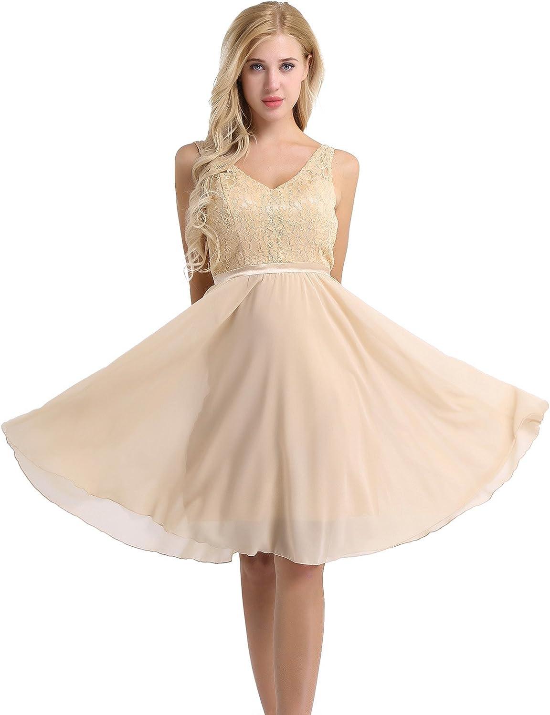 YiZYiF Women's Lace Chiffon A-Line Prom Formal Wedding Bridesmaid Short Mini Dress