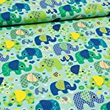 Loopomio Jersey Stoffe- Elefanten Aqua blau Mint 1,00m x VB