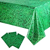 3 Pieces Disposable Plastic Grass Tablecover, Vibrant Green Grass Sign Tablecover for Soccer or Sports Theme Parties Decorations and Supplies, 54 x 108 Inch