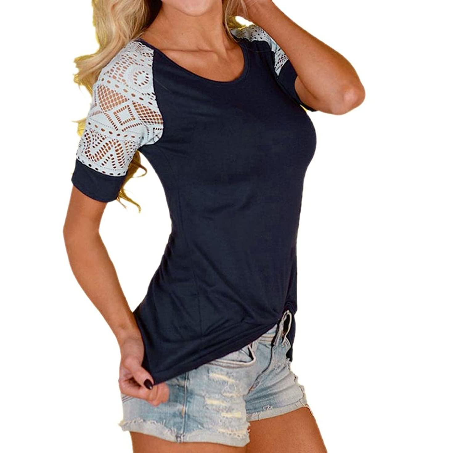 Pengy Women Blouse Tops Lace Shirt Tee Short Sleeve