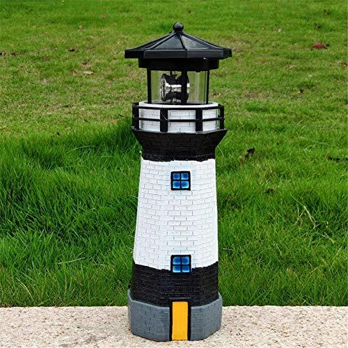 Solar Leuchtturm, Garten Solar Leuchtturm LED-Beleuchtung, LED Solarbetriebener Leuchtturm Wasserdichte Statue Rotierender Gartenhof Außenbeleuchtung Dekor