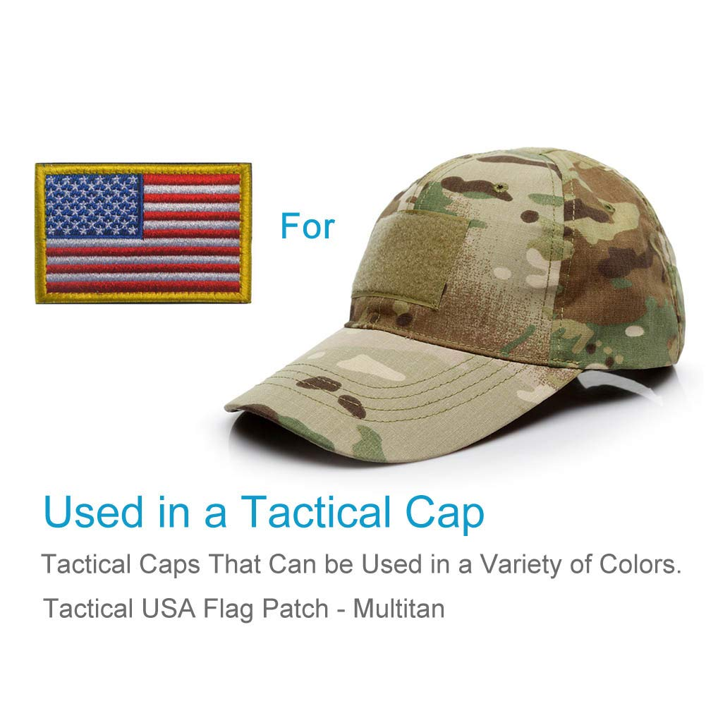 American Flag Patch, Tactical Military Flag Patches, American Military Flag Emblem Patch. (Gold Border-2Piece)