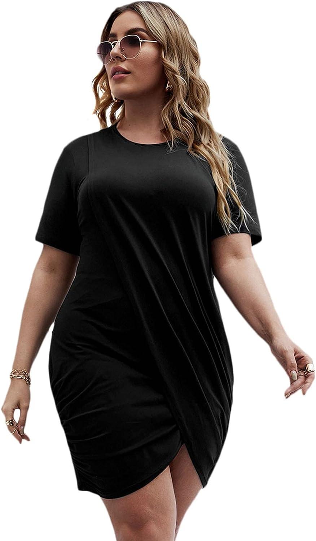 SOLY HUX Women's Plus Size Casual Short Sleeve Wrap Hem Short T Shirt Dress