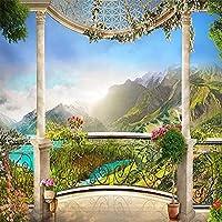 カスタム壁紙壁画3Dウィンドウバルコニー山の風景寝室リビングルームソファテレビ背景壁家の装飾-350x250cm