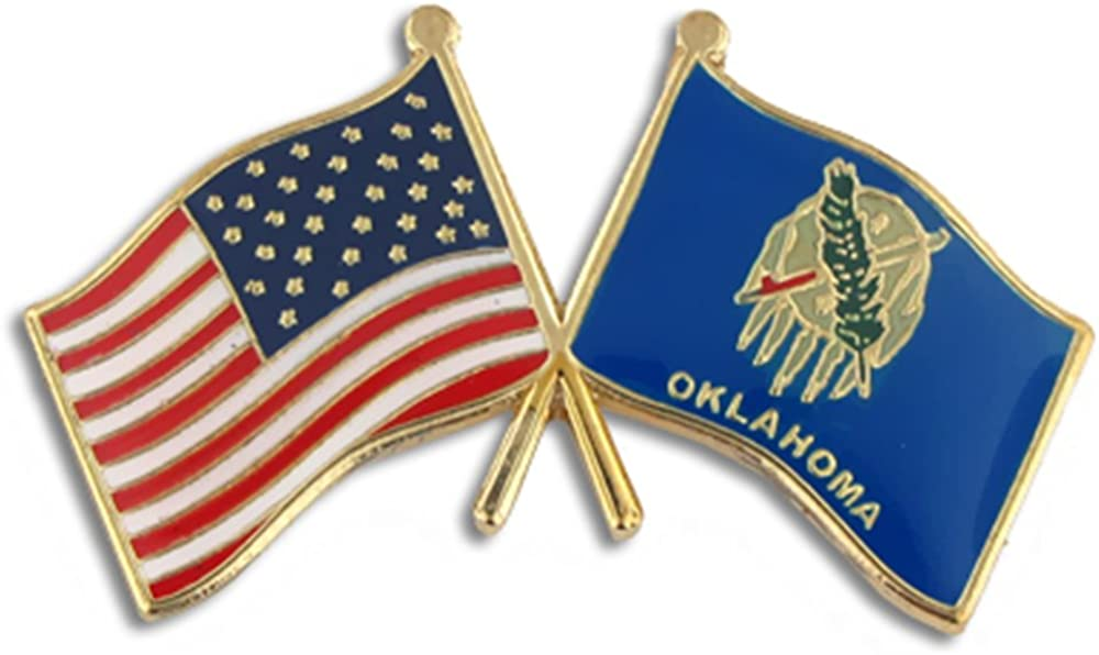 PinMart Oklahoma and USA Crossed Enamel Lapel Pi Friendship Flag Super Easy-to-use popular specialty store