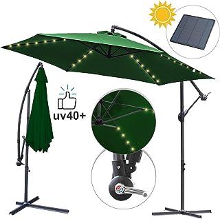 Hengda Ø 350 cm Sombrilla Parasol Excéntrico con Solar LED de Mástil Aluminio y 100% Poliester Tela para Terraza Jardín Balcón Protección UV40+ y Impermeable-Verde