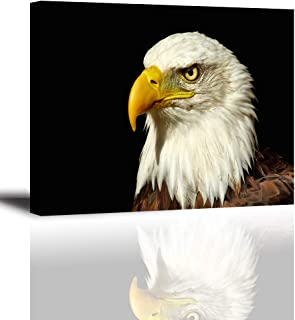 Tku's Bald Eagle Canvas Painting with Black Background Wall Art Bird Animal Picture for Home Decor - Courage Strength Victory (Waterproof, Ready to Hang)