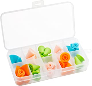 HEIRTRONIC 28 PCS Multi-Colored Knitting Needles Point Protectors Stoppers Knit Needle Tip Covers For Knitting Craft with Compartment Box