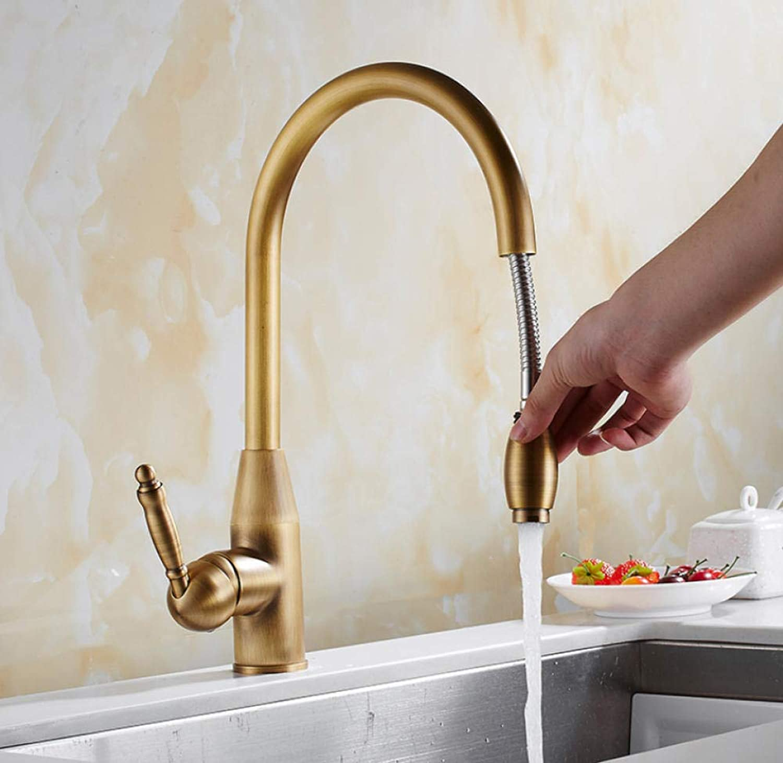 Neue ankunft Küchenarmatur Antike Bronze messing küchenspüle herausziehen küchenarmatur Spültischmischer mit herausziehen duschkopf