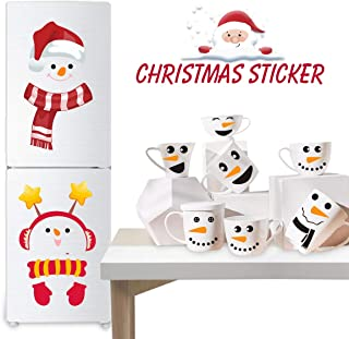 Snowman Wall Decals for Christmas Decorations, 2 Pcs Christmas Snowman Refrigerator Stickers + 16 Pcs Snowman Faces Cup Stickers for Christmas Party Decals, Christmas Stickers for Home Decor